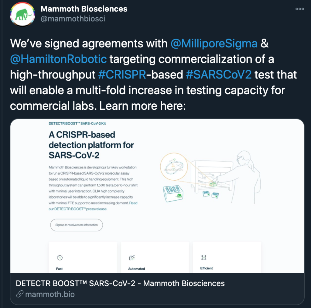 """Screenshot of a tweet from the Mammoth Biosciences Twitter account announcing the DETECTR BOOST SARS-CoV-2 Kit. The tweet reads, """"We've signed agreements with @MilliporeSigma & @HamiltonRobotic targeting commercialization of a high-throughput #CRISPR-based #SARSCoV2 test that will enable a multi-fold increase in testing capacity for commercial labs. Learn more here [link to https://mammoth.bio/covid/]"""